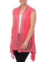 Dipped Hem Panelled Waistcoat Bright Pink - Gallery Image 2