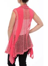 Dipped Hem Panelled Waistcoat Bright Pink - Gallery Image 3