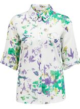 Anna Rose Printed Cotton Blouse Green/Lavender - Gallery Image 1