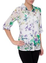 Anna Rose Printed Cotton Blouse Green/Lavender - Gallery Image 2