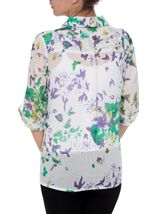 Anna Rose Printed Cotton Blouse Green/Lavender - Gallery Image 3