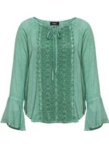 Long Bell Sleeve Crochet Trim Top Mint - Gallery Image 1