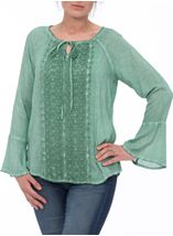 Long Bell Sleeve Crochet Trim Top Mint - Gallery Image 2