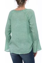 Long Bell Sleeve Crochet Trim Top Mint - Gallery Image 3