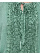 Long Bell Sleeve Crochet Trim Top Mint - Gallery Image 4