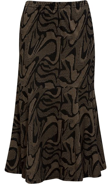 Fit And Flare Jersey Patterned Midi Skirt Black/Gold