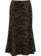 Fit And Flare Jersey Patterned Midi Skirt Black/Gold - Gallery Image 1