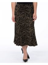 Fit And Flare Jersey Patterned Midi Skirt Black/Gold - Gallery Image 2