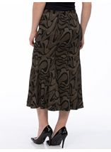 Fit And Flare Jersey Patterned Midi Skirt Black/Gold - Gallery Image 3