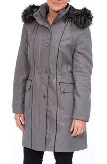 Anna Rose Faux Fur Trim Embossed Coat - Patriot Blue