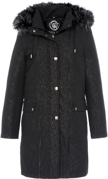 Anna Rose Faux Fur Trim Embossed Coat Black