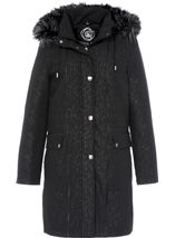 Anna Rose Faux Fur Trim Embossed Coat Black - Gallery Image 1