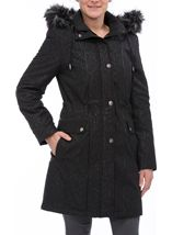 Anna Rose Faux Fur Trim Embossed Coat Black - Gallery Image 2