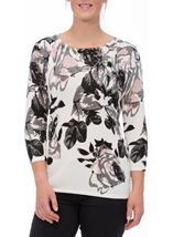 Anna Rose Printed Knit Top Cream Melange - Gallery Image 2