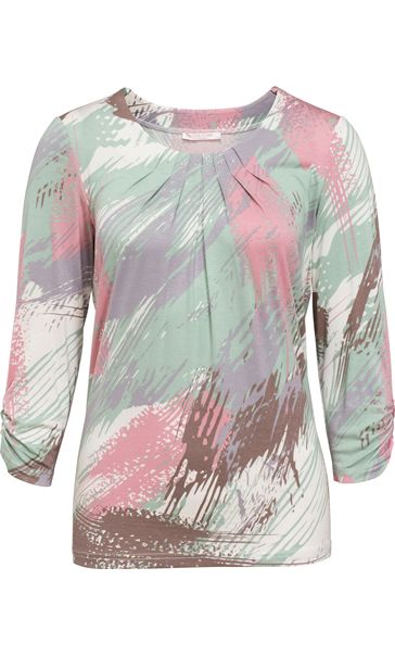 Anna Rose Printed Round Neck Top Mint/Dusky Pink