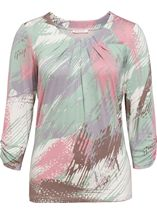 Anna Rose Printed Round Neck Top Mint/Dusky Pink - Gallery Image 1