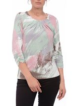 Anna Rose Printed Round Neck Top Mint/Dusky Pink - Gallery Image 2