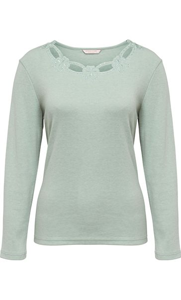 Anna Rose Long Sleeve Embellished Top Mint