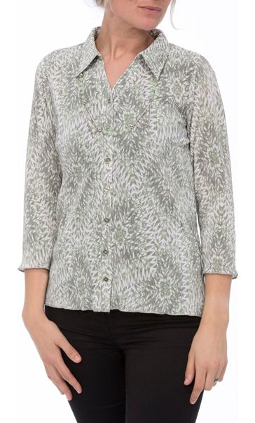 Anna Rose Pleated Top With Necklace Grey/Mint - Gallery Image 2