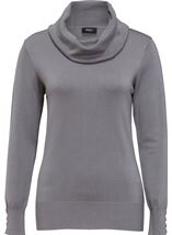Cowl Neck Knit Top Grey - Gallery Image 4