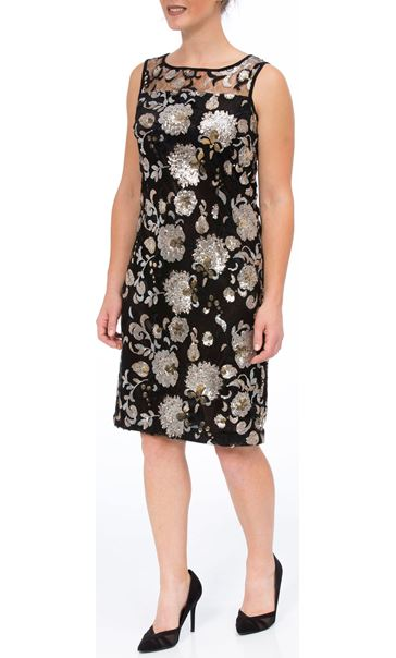 Floral Sequin And Lace Midi Sleeveless Dress Black/Gold