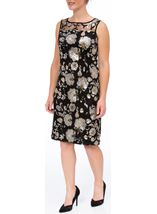 Floral Sequin And Lace Midi Sleeveless Dress Black/Gold - Gallery Image 1