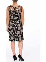 Floral Sequin And Lace Midi Sleeveless Dress Black/Gold - Gallery Image 2