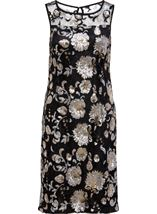 Floral Sequin And Lace Midi Sleeveless Dress Black/Gold - Gallery Image 3