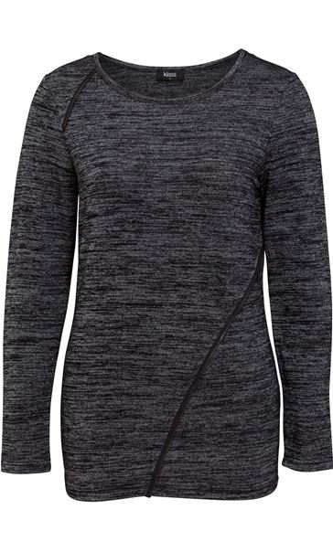 Long Sleeve Lightweight Knit Top Grey/Black