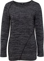 Long Sleeve Lightweight Knit Top Grey/Black - Gallery Image 1