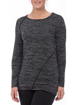 Long Sleeve Lightweight Knit Top Grey/Black - Gallery Image 2