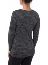 Long Sleeve Lightweight Knit Top Grey/Black - Gallery Image 3