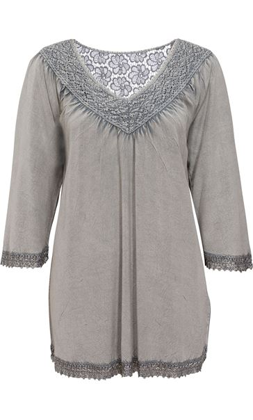Lace Trim Washed Top Light Grey
