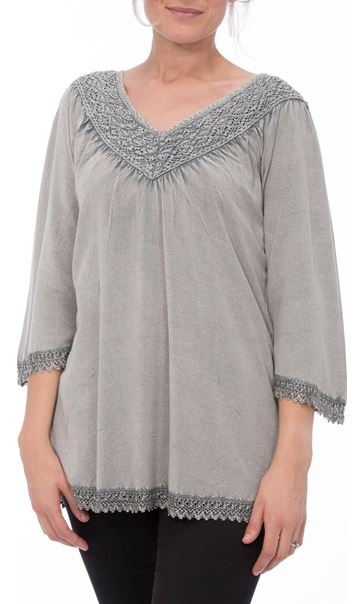 Lace Trim Washed Top Light Grey - Gallery Image 2