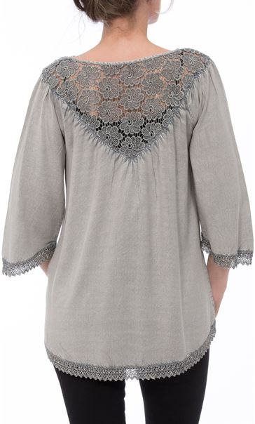 Lace Trim Washed Top Light Grey - Gallery Image 3