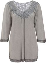Lace Trim Washed Top Light Grey - Gallery Image 1