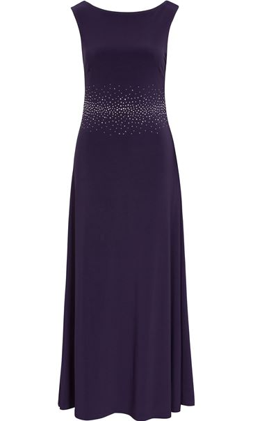 Embellished Cowl Back Jersey Maxi Dress Nightshade