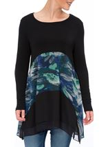 Long Sleeve Hanky Hem Tunic Black/Multi - Gallery Image 2