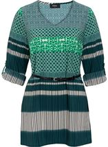 Turn Back Sleeve Printed Tunic Emerald/Pine - Gallery Image 1