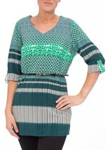 Turn Back Sleeve Printed Tunic Emerald/Pine - Gallery Image 2