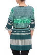 Turn Back Sleeve Printed Tunic Emerald/Pine - Gallery Image 3
