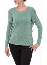 Long Sleeve Frill Top Emerald/Grey - Gallery Image 1