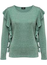 Long Sleeve Frill Top Emerald/Grey - Gallery Image 4
