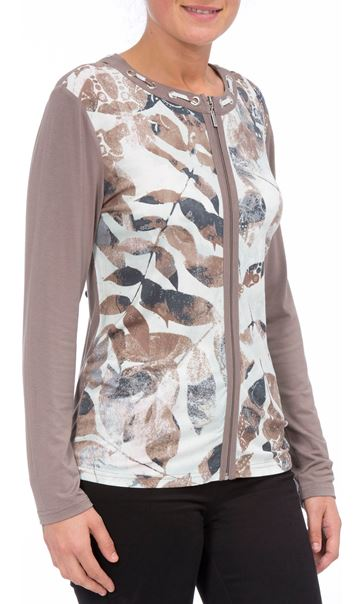 Anna Rose Printed Unlined Zip Jacket Mint/Taupe
