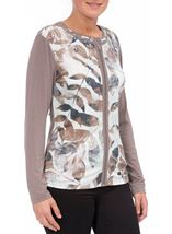 Anna Rose Printed Unlined Zip Jacket Mint/Taupe - Gallery Image 1