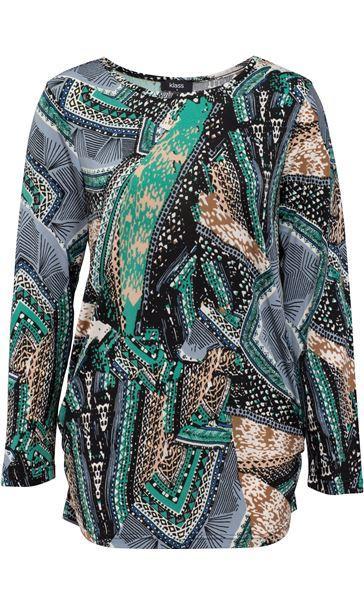 Printed Long Sleeve Jersey Tunic Emerald/Blue