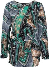 Printed Long Sleeve Jersey Tunic Emerald/Blue - Gallery Image 1