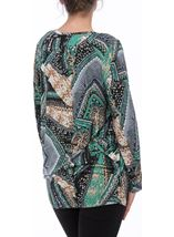 Printed Long Sleeve Jersey Tunic Emerald/Blue - Gallery Image 3