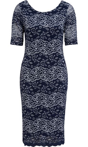 Anna Rose Fitted Corded Lace Short Sleeve Midi Dress Navy/Silver