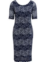 Anna Rose Fitted Corded Lace Short Sleeve Midi Dress Navy/Silver - Gallery Image 1